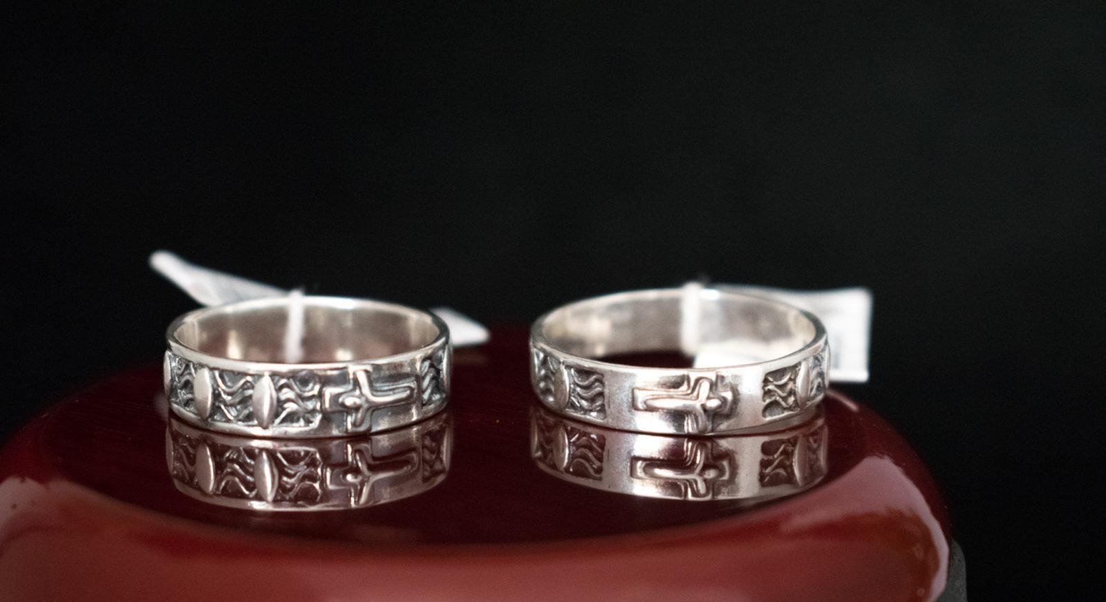 dziesiątka różańca srebrna na palec
