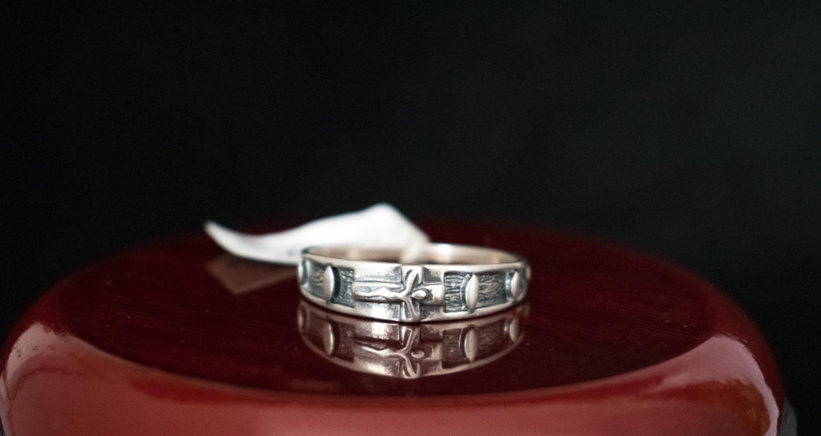 dziesiątka różanca na palec srebro