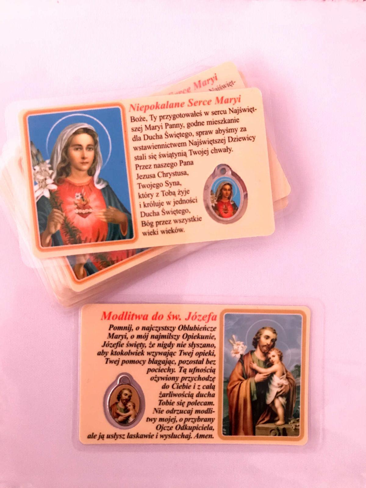 Karta modlitwa z medalikiem